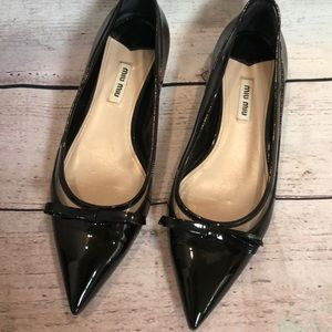 Miu Miu patent leather pointed toe block heel flat